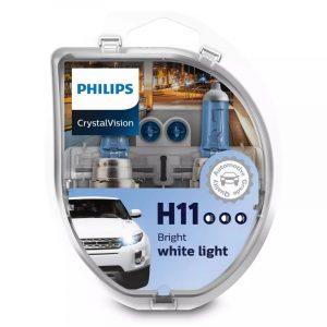 PHILIPS ΛΑΜΠΑ 12V H11 SET CRYSTAL VISION 12362CVSM