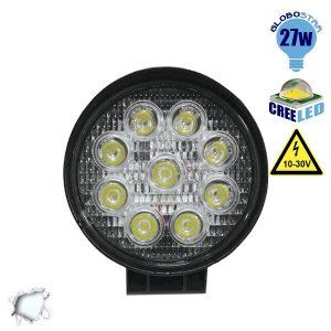 Προβολέας LED Εργασίας Στρογγυλός 27W 10-30V 3780lm 30° Αδιάβροχος IP65 Ψυχρό Λευκό 6000k 63-30000