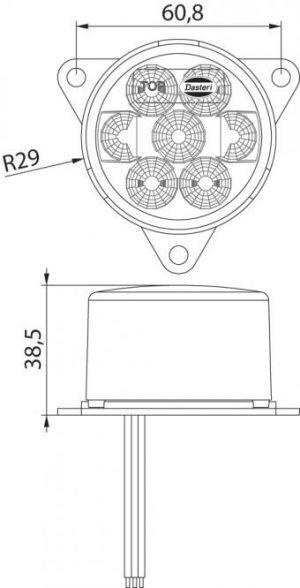 DASTERI ΦΑΝΟΣ ΦΛΑΣ LED ΟΠΙΣΘΙΟΣ 9-33V ΛΕΥΚΟΣ (1616) DSL0400DIR.07