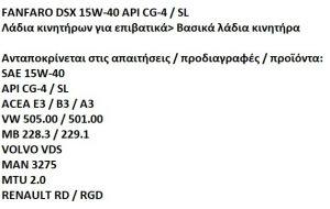 FANFARO ΛΑΔΙΑ 15W40 UNIV DSX 4X5L 15W40DSX5L