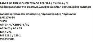 FANFARO ΛΑΔΙΑ 20W50 TRD-50 SHPD 20L (6102)20W50TRD5020L
