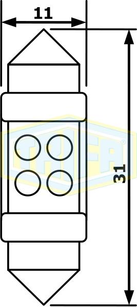 """TRIFA ΛΑΜΠΑ LED ΣΩΛ/ΤΗ 24V 20mA11*31 ΚΙΤΡΙΝΗ """"SV8,5 4LED"""" 02846"""