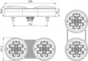 DASTERI ΟΠΙΣΘΙΟΣ ΦΑΝΟΣ LED 4 ΛΕΙΤΟΥΡΓΙΩΝ ΜΕ ΔΙΠΛΗ ΒΑΣΗ ΔΕΞΙ  (1326) DSL-211 STDRR